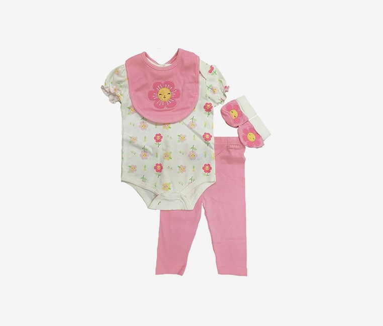 Toddler Girl's Floral Print 4 Set, Pink/Off White