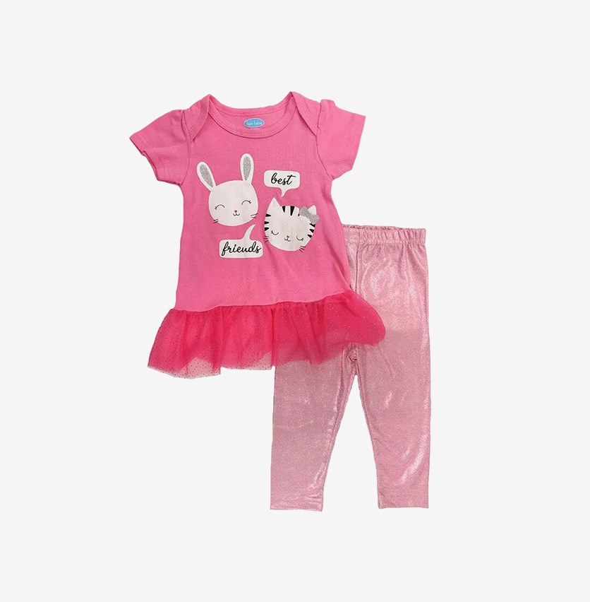 Baby Girl's 2 Pcs Set, Pink