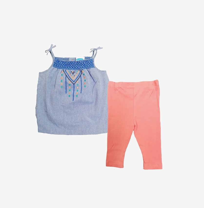 Toddlers Top and Pants, Chambray/Orange