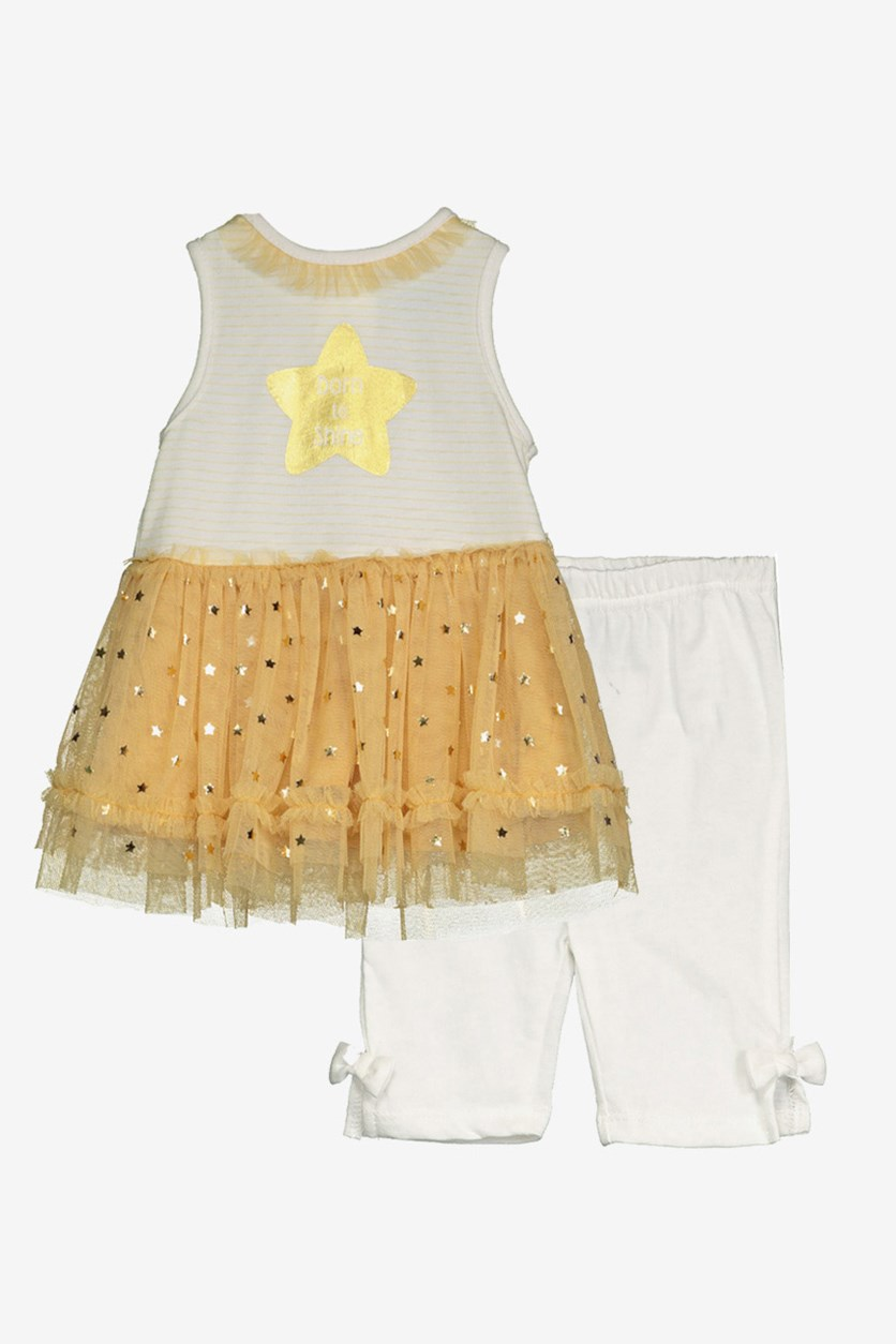 Toddlers Born To Shine Set, Ivory/Gold Combo