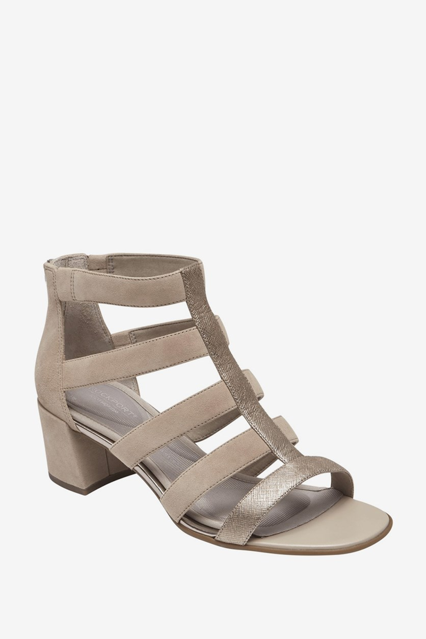 Women Total Motion Caged Suede Sandals, Grey