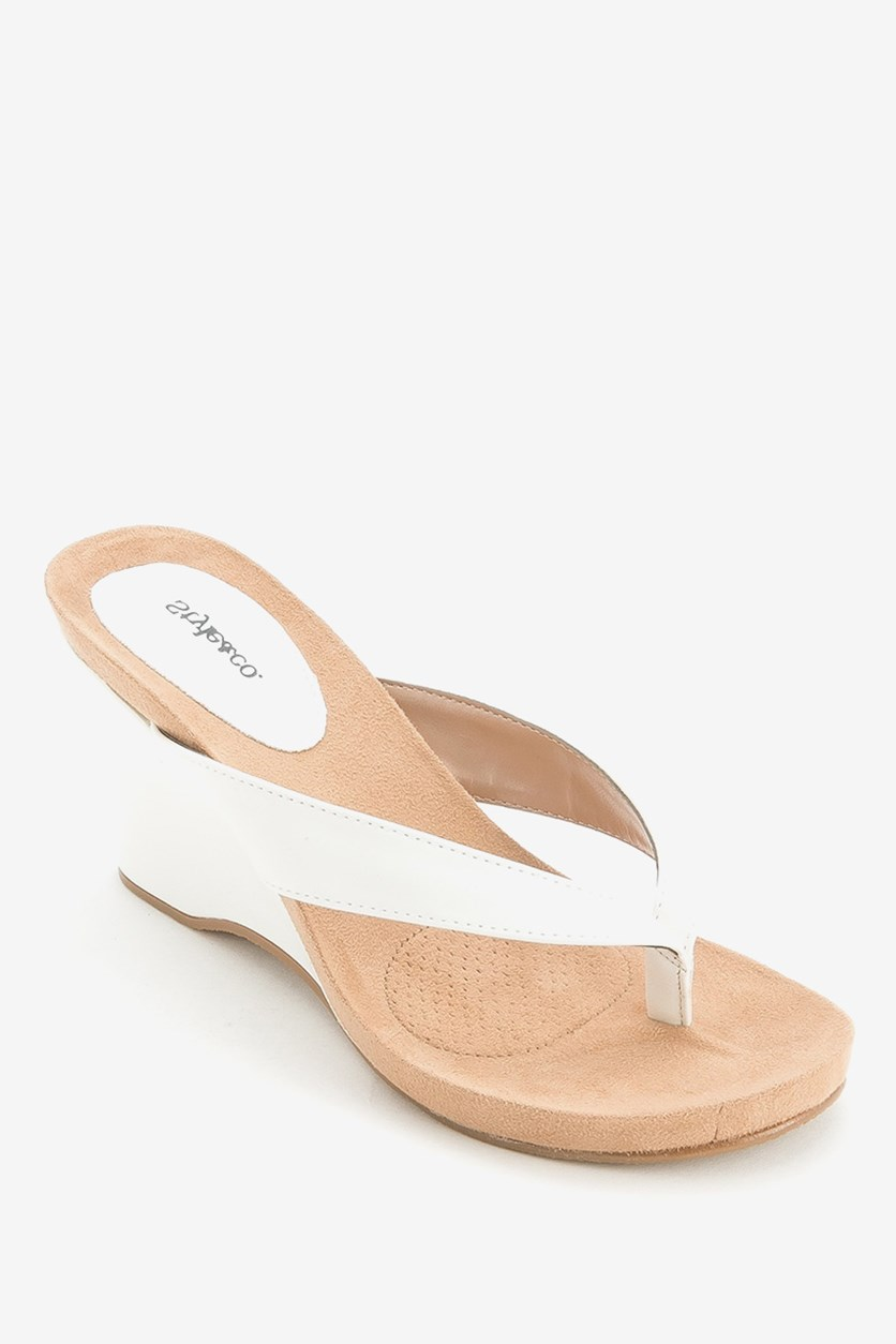 Women's Chicklet Wedge Thong Sandals, White