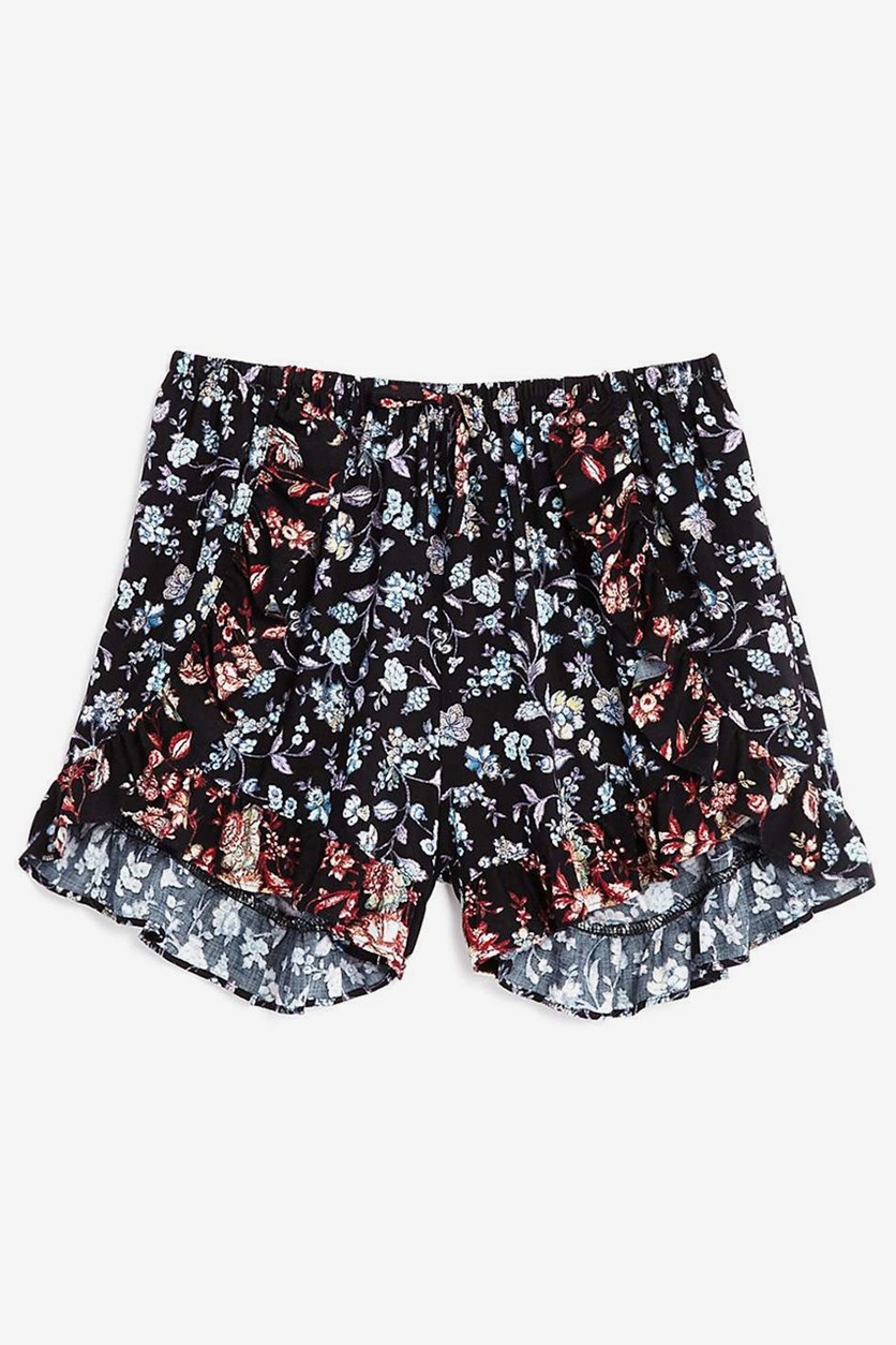 Girls' Ruffled Floral Shorts, Black Combo