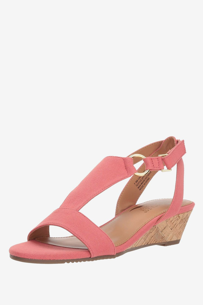 Women's Creme Brulee Wedge Sandal, Coral Fabric