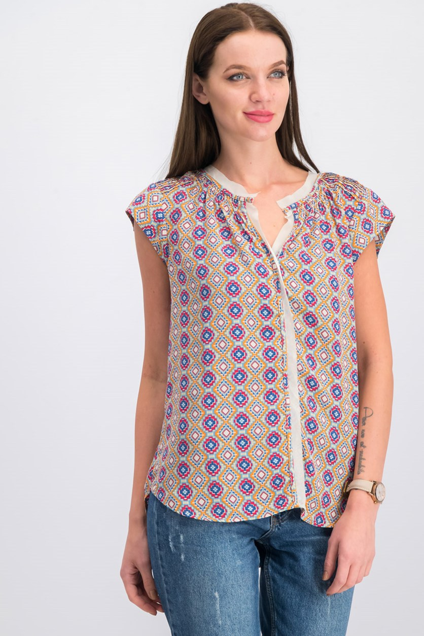 Allover Printed Tops, Blue Combo
