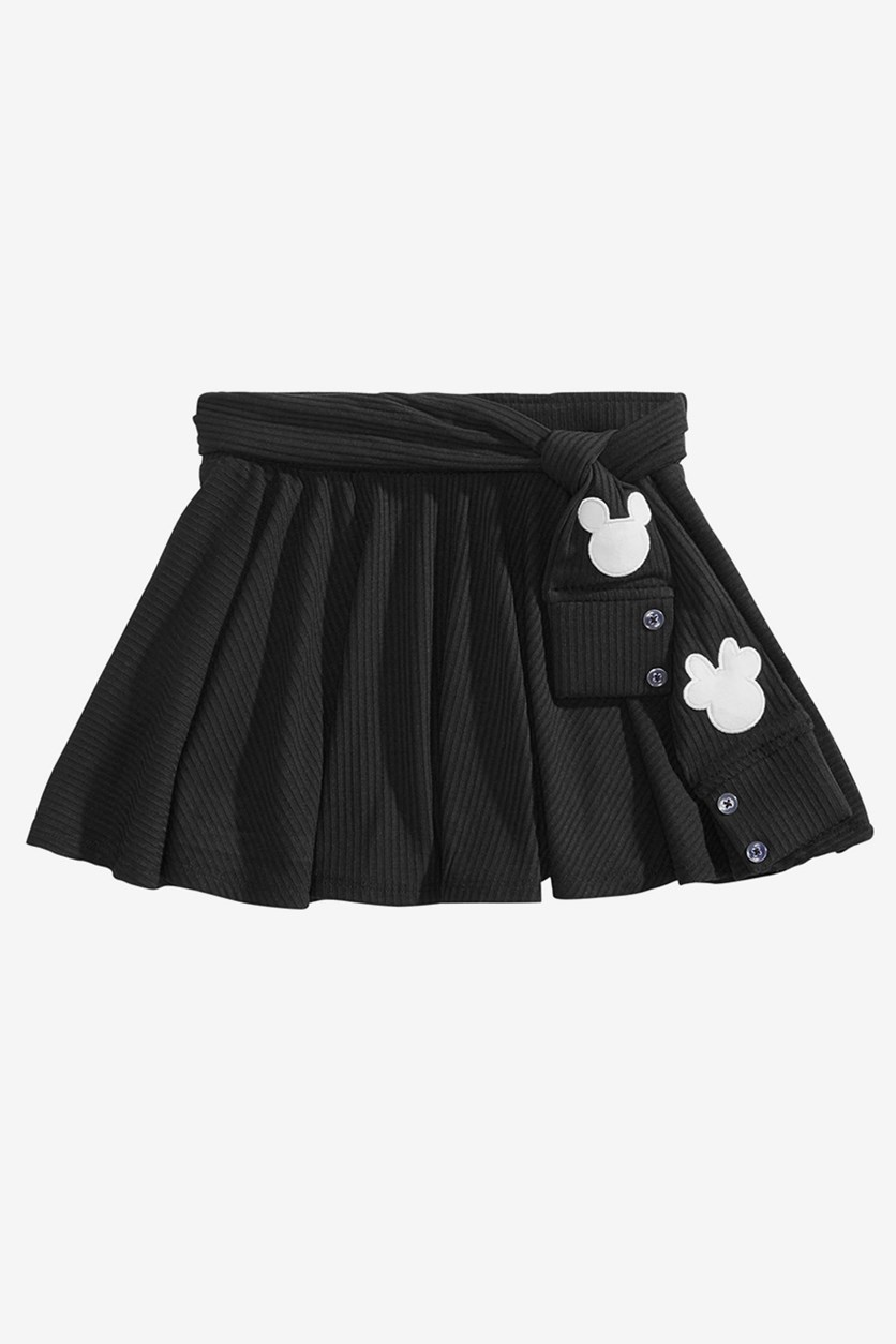 Toddler Girls Ribbed Mickey & Minnie Mouse Skirt, Black