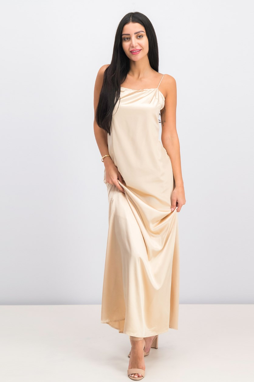 Women's Sleeveless Dress, Beige Satin