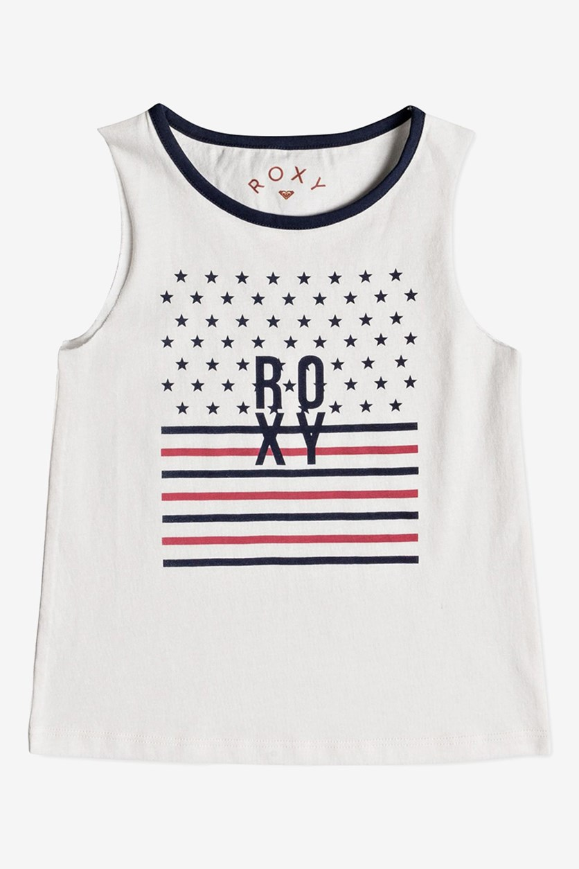 Little Girl's American Flag Graphic-Print Cotton Tank Top, White