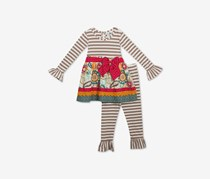 Rare Editions Baby Girls 2-Pc. Striped Dress & Leggings Set, Taupe