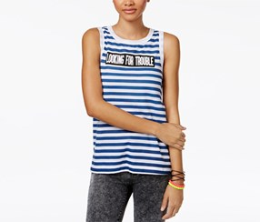 Mighty Fine Women's Trouble Striped Graphic Tank Top, Blue/White