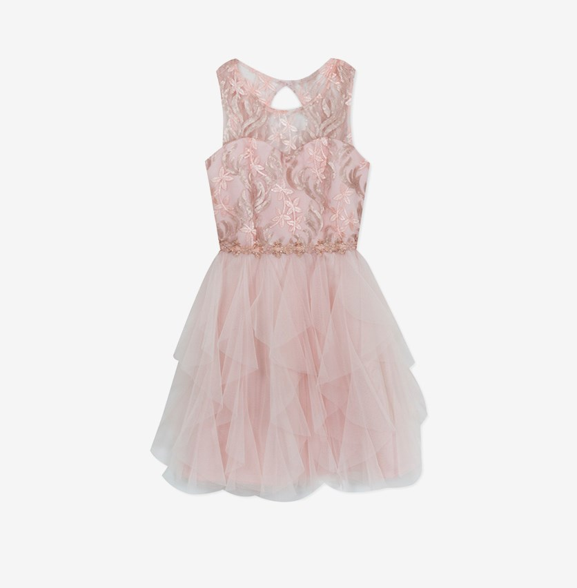 Big Girls Sequin Cascading Ruffle Dress, Blush