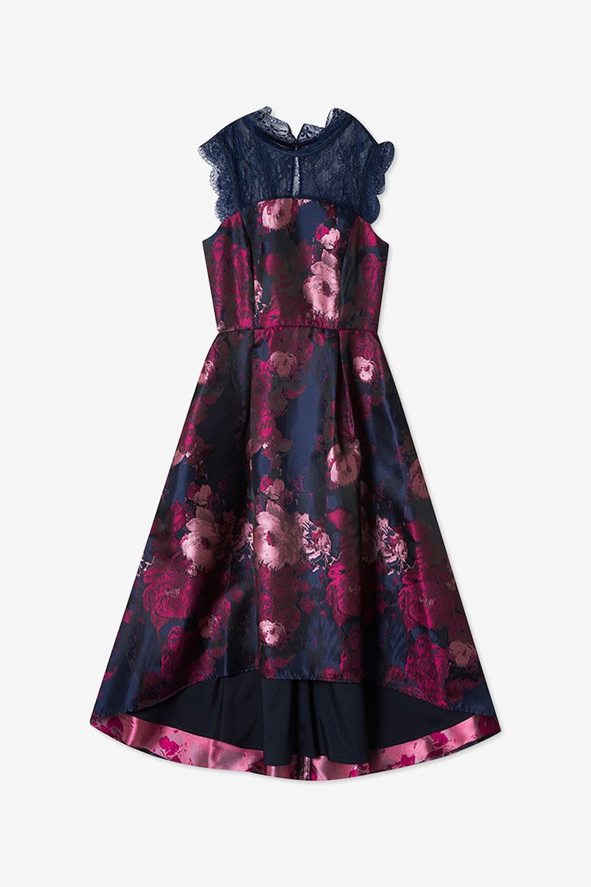 Big Girls Floral Jacquard Dress, Navy