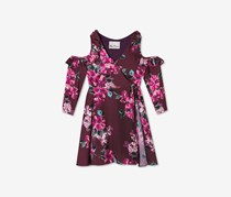 Rare Editions Kids Girls Cold Shoulder Wrap Dress, Burgundy