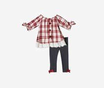 Rare Editions Baby Girls 2-Pc. Plaid Tunic & Leggings Set, Burgundy