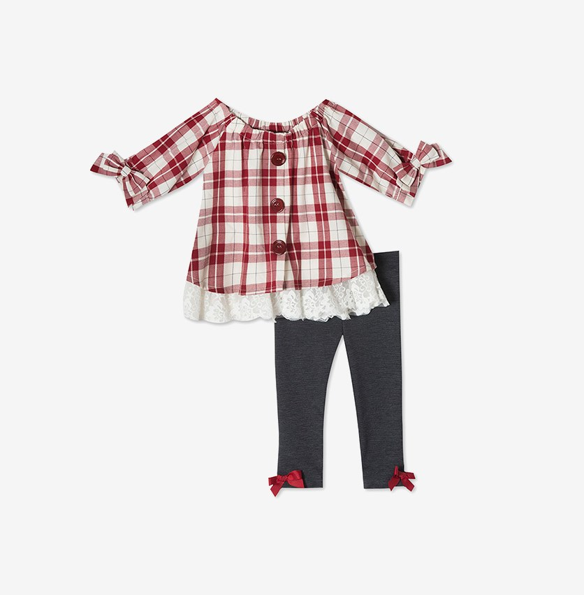 Baby Girls 2-Pc. Plaid Tunic & Leggings Set, Burgundy