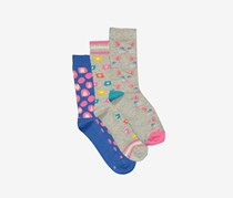 Kids 3 Pair Crew Socks, Grey/Blue Combo