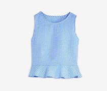 Aqua Girl's Gingham Top, Blue/White