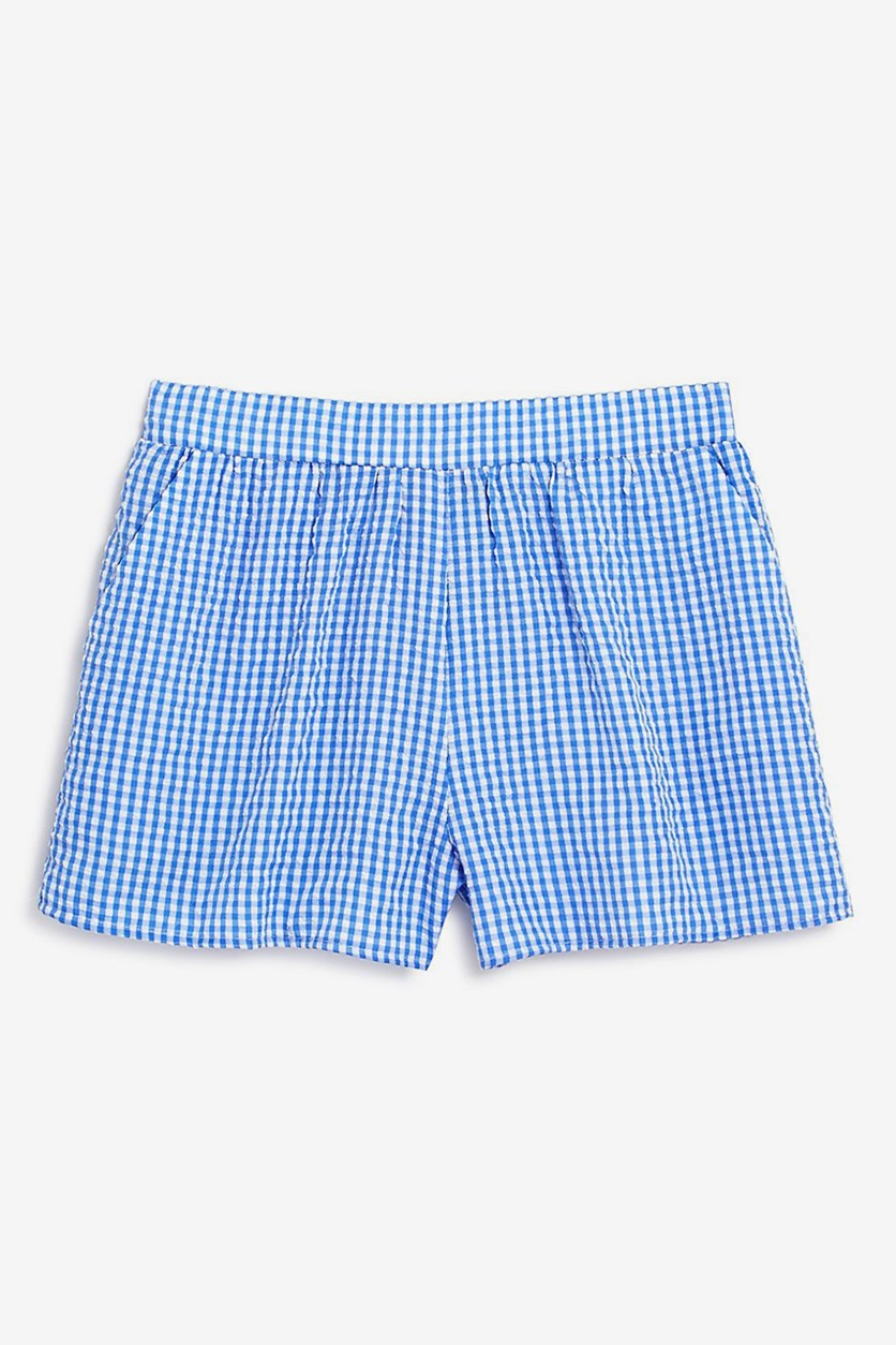 Girls' Gingham Shorts, Blue/White