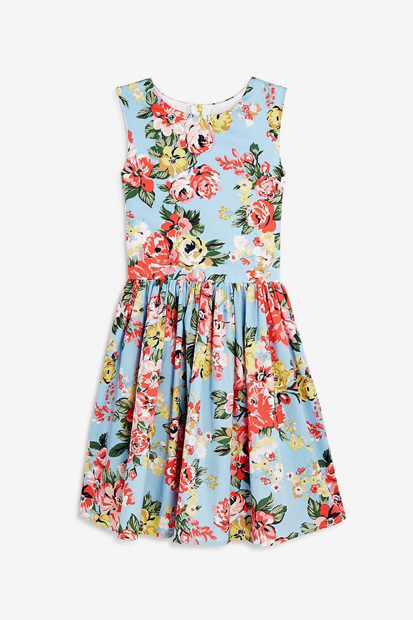 Girls' Floral-Print Fit-and-Flare Dress, Blue Combo