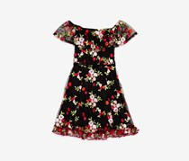Miss Behave Girls' Embroidered Floral Off-the-Shoulder Dress, Black