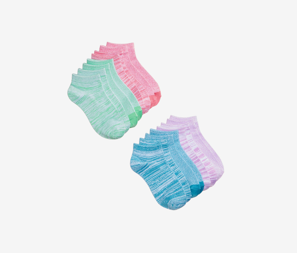 8-Pairs Stripes Solids No-Show Sock, Pink/Purple/Green/Blue