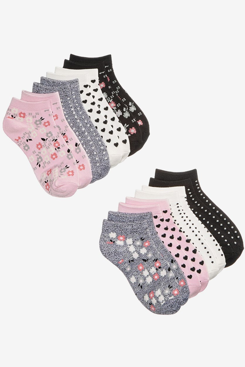 Little Girls 8-Pk. Floral No-Show Socks, Pink Combo