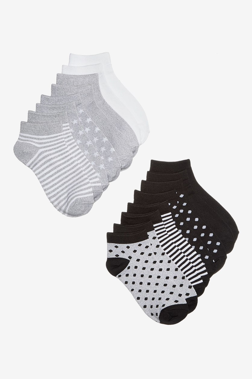 8-Pk. Stripes, Dots & Solids No-Show Socks, White/Black/Grey