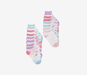 8-Pk. Days Of The Week No-Show Socks, Purple/Pink/Blue