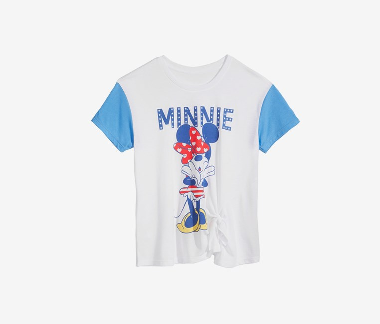 Big Girls Minnie Mouse Tie-Front T-Shirt, White/Blue