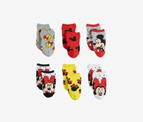 Disney's Minnie Mouse 6-Pairs No Show Socks, Grey/Red/White/Yellow