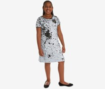 Rare Editions Big Girls Reversible Sequin Shift Dress, Black/White