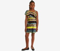 Rare Editions Big Girls One Shoulder Striped Sequin Dress, Black/Yellow/Blue/Purple