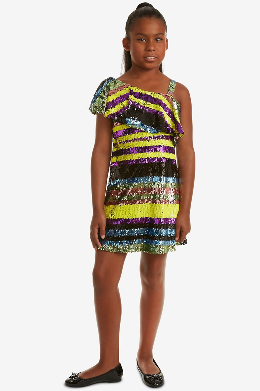 Big Girls One Shoulder Striped Sequin Dress, Black/Yellow/Blue/Purple