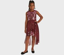 Big Girls Sequin Overlay Party Dress, Burgundy