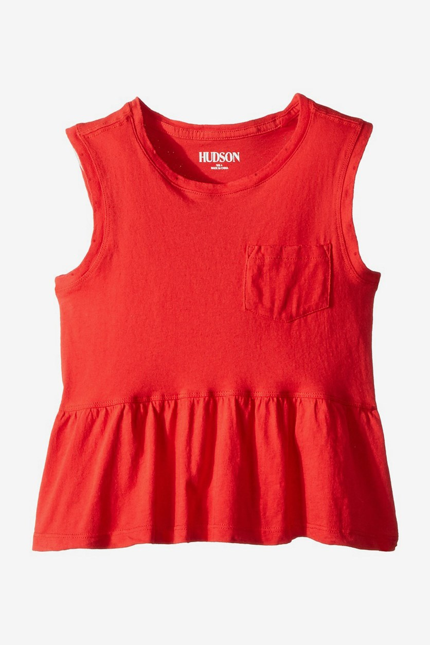 Little Girl's Rip Flounce Pocket Tank Top, Red