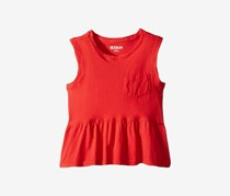 Hudson Kids Girl's Rip Flounce Pocket Tank Top, Red