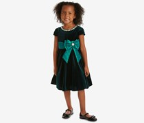 Little Girls Velvet Fit & Flare Party Dress, Emerald