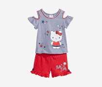 Hello Kitty 2-Pc. Cold Shoulder Top & Short, Red Blue Rocket