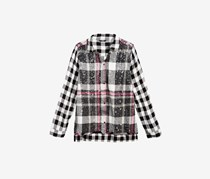 GUESS Girls Sequin Plaid Shirt, Black/White
