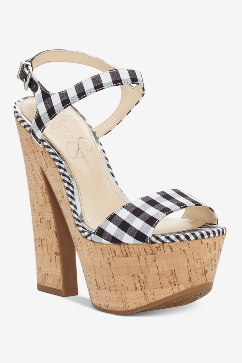 Divela Platform Gingham Sandals, Black/White