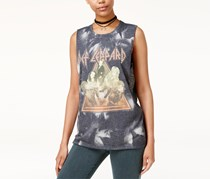 Hybrid Women's  Def Leppard Studded Graphic Tank Top, Gray/ Yellow