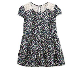 Monteau Girls' Floral-Print Tiered Top with Crochet, Navy Blue