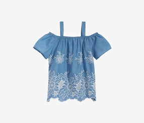 Monteau Embroidered Cotton Top, Blue/Off White