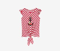 Monteau Girl's Striped Tie-Front Top, Red Combo