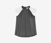 Monteau Big Girls Lace-Sleeve Striped Top, Black