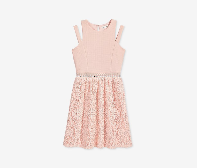 Big Girls Embellished-Waist Dress, Blush