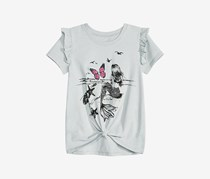 Kandy Kiss Big Girls Reversible Sequin Tie-Front T-Shirt, Light Grey