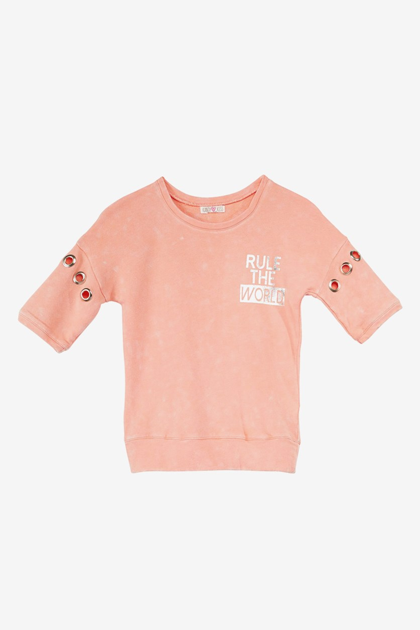 Big Girls Grommet-Sleeve Top, Peach