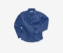 Boys Long-Sleeved Sateen Shirt, Dark Blue