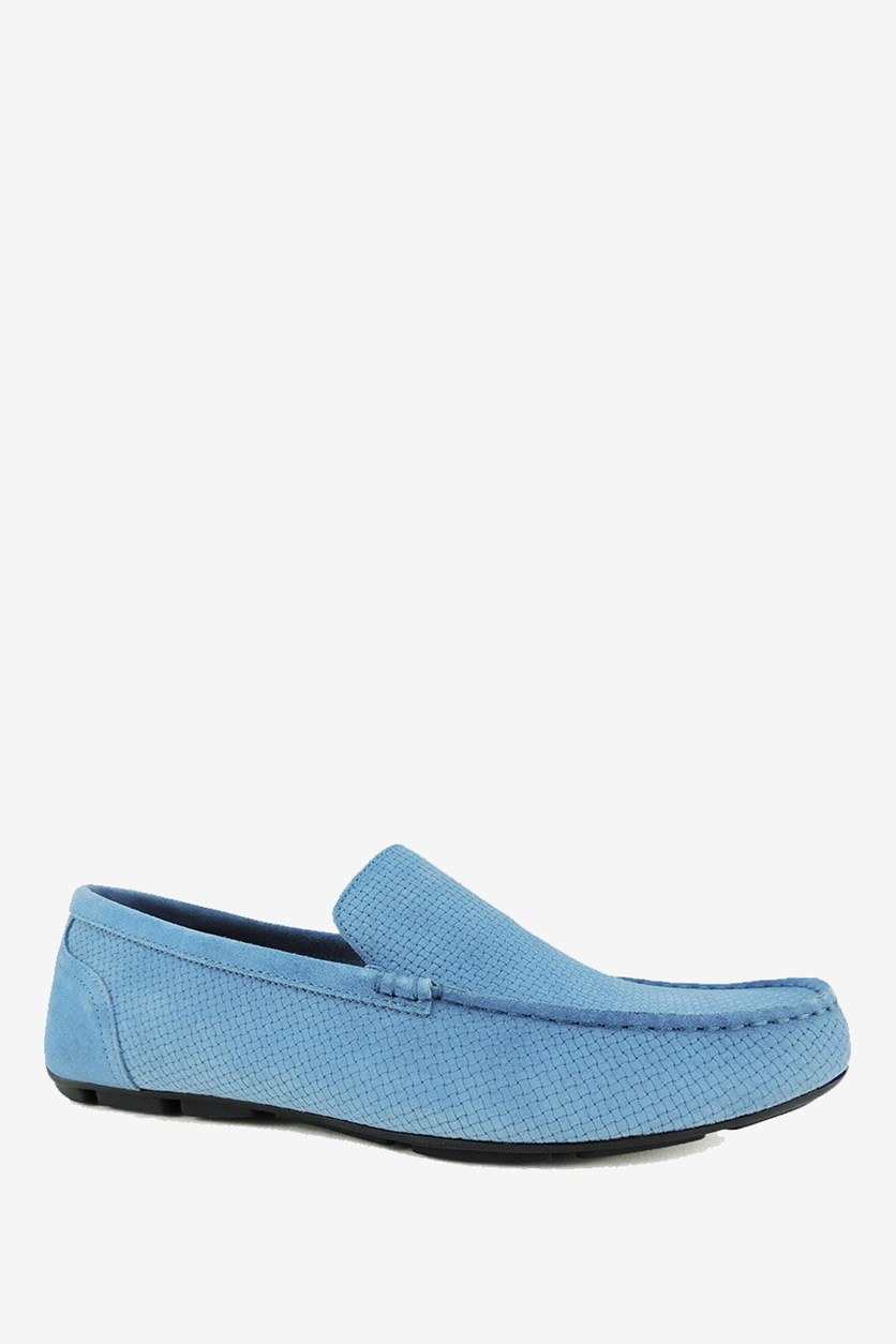 Mens Kendric Textured Drivers Shoes, Denim Blue